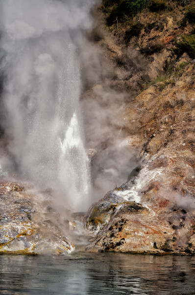 "2018-03-15 View of steam from a geyser eruption on  Lake Rotomahana, coords: 38°16'4"" S 176°25'15"" E. SE of Rotorua, New Zealand."