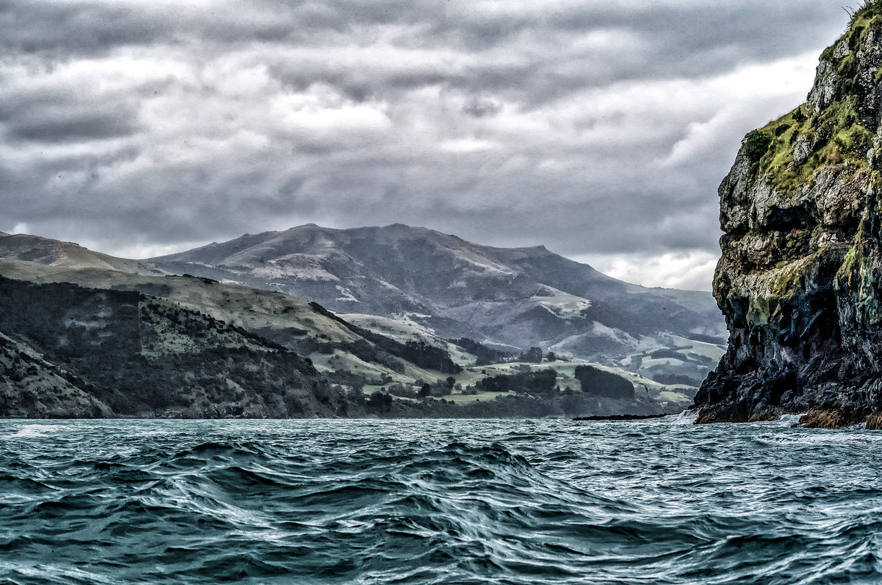 """2018-03-17 Near Akaroa, New Zealand.  Coords: 43°52'9"""" S 172°56'59"""" E.  These waters lead to the Tasman Sea and in general to the Southern Ocean. The International Dateline is 731 miles due east from this point."""