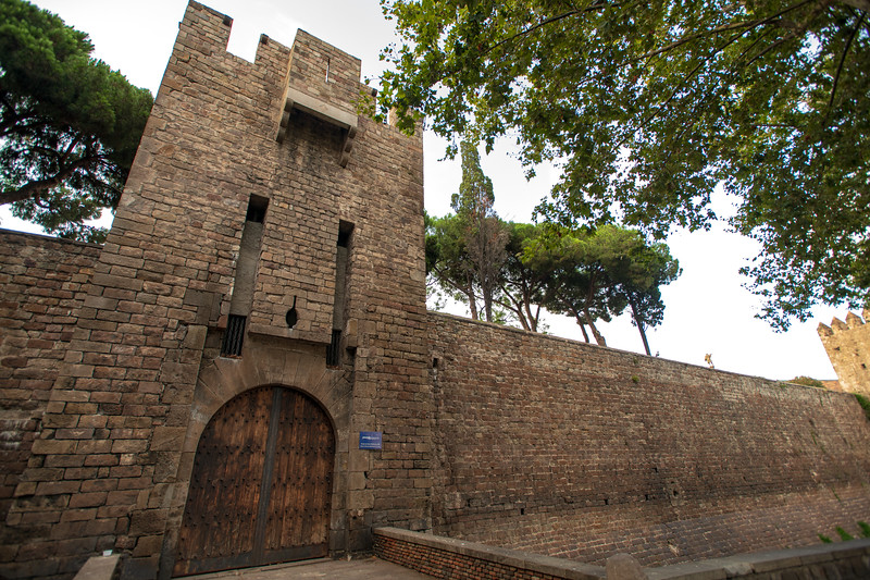 The city walls of Barcelona, Spain.