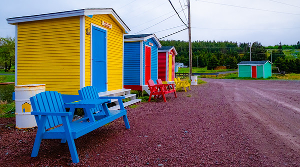 Colorful cabins at the beach in Cavendish.