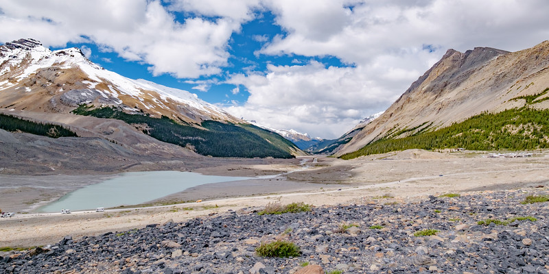 Looking north up the Icefields Parkway valley from the Columbia Icefields Centre.