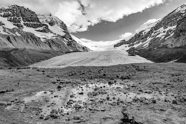 Evening view of Athabaska Glacier from the toe of the glacier.