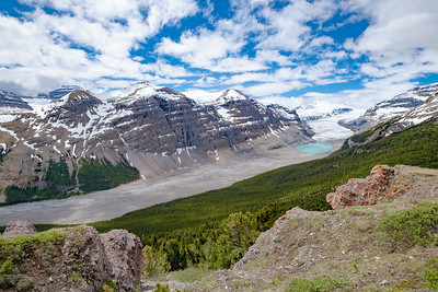 Looking out over the Saskatchewan Glacier and lake and debris field.