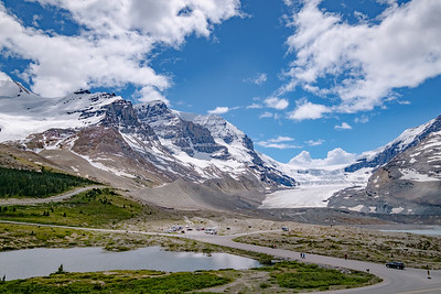 The main glacier at Columbia Icefields Center from afar.