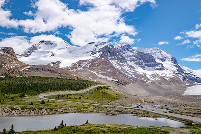 Bright sunny views from the Columbia Icefields Center in Jasper National Park.