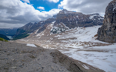 View back over the moraine detritus in the Plain of Six Glaciers.