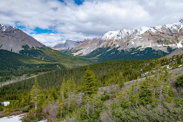 Look back down southwest towards the Parker Ridge trailhead on the decent.