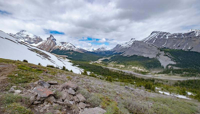 Look back down northwest towards the Parker Ridge trailhead on the decent.