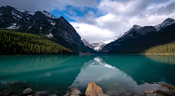 Early morning view of Lake Louise from in front of the Fairmont Resort.