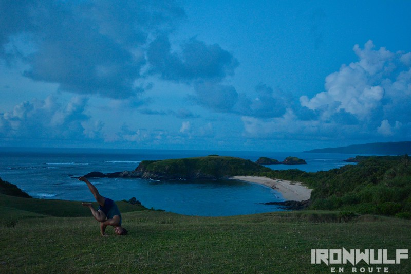 Yoga with Cagnipa Cove at the backdrop
