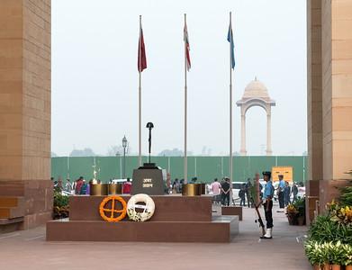 A memorial below the India Gate, in Delhi.