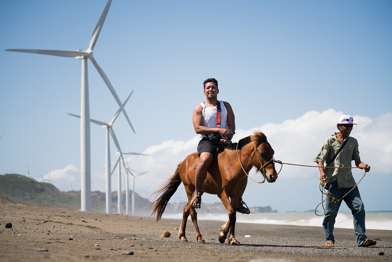 Horseback riding at the Bangui Wind Farm