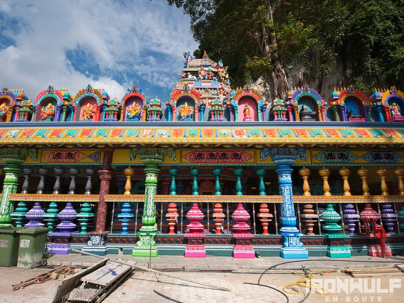 Colorful temple outside the cave