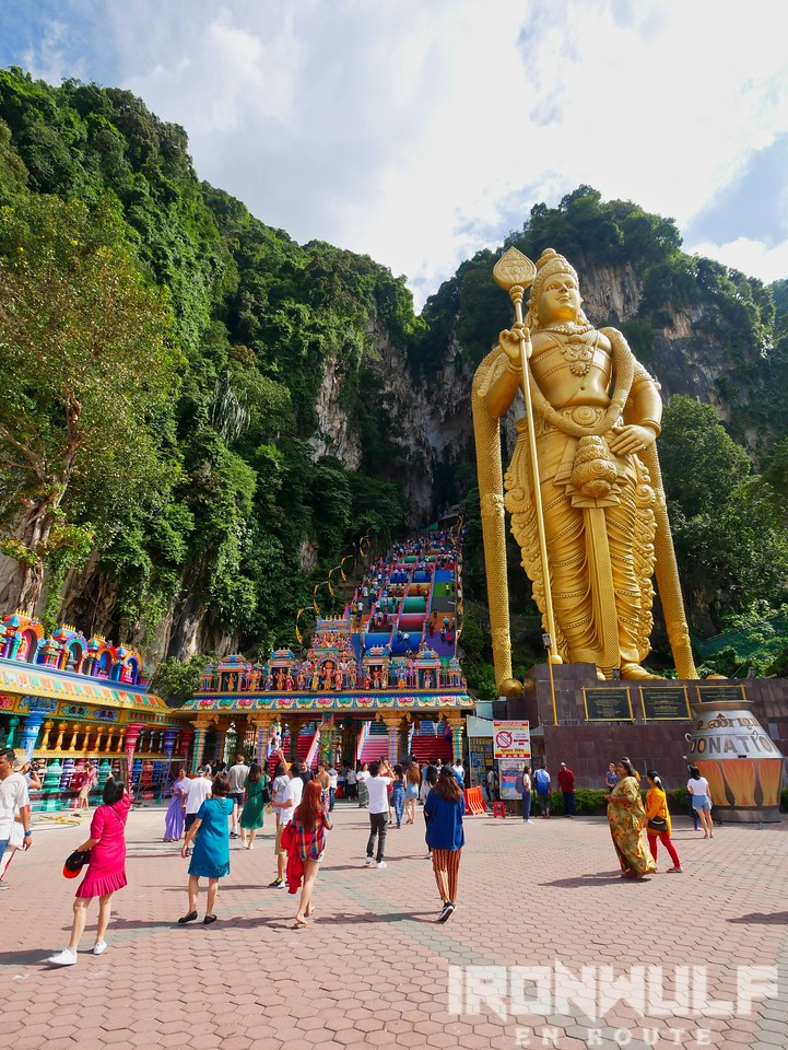 The giant statue of Lord Murugan stands at the entrance