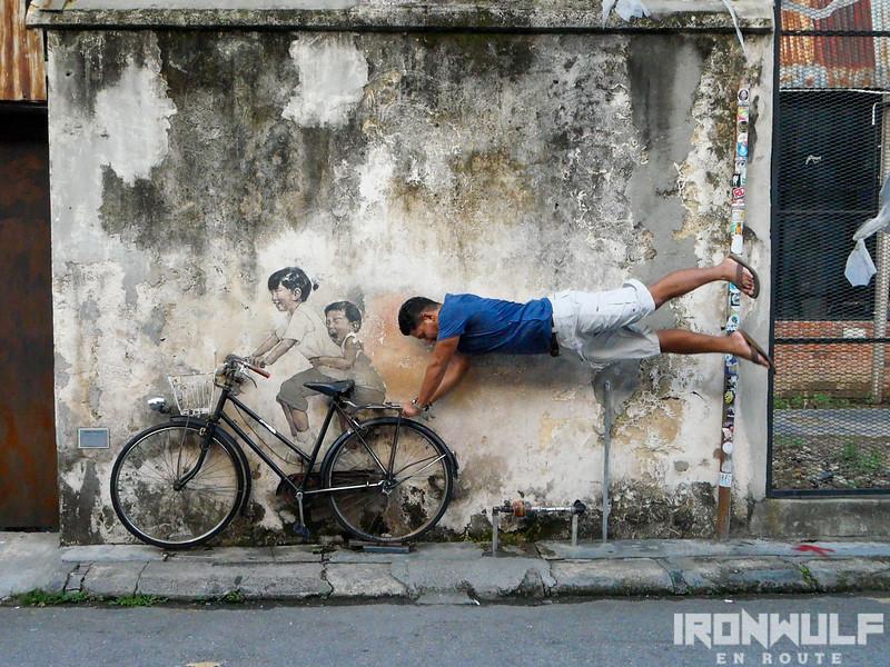 Having fun at Zacharevic's kids on a bike mural