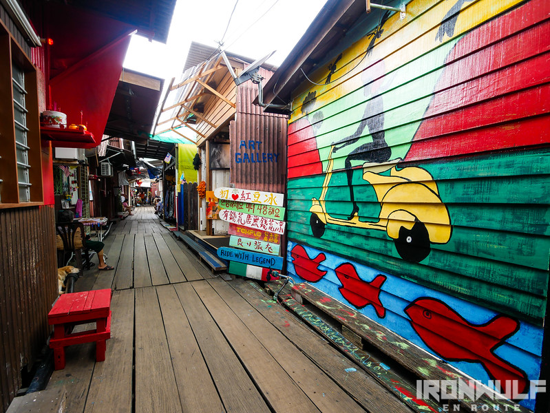 Colorful murals and shops along the way