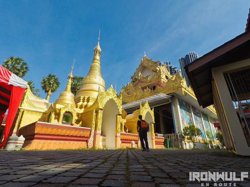 Admiring the stupa at the Burmese temple