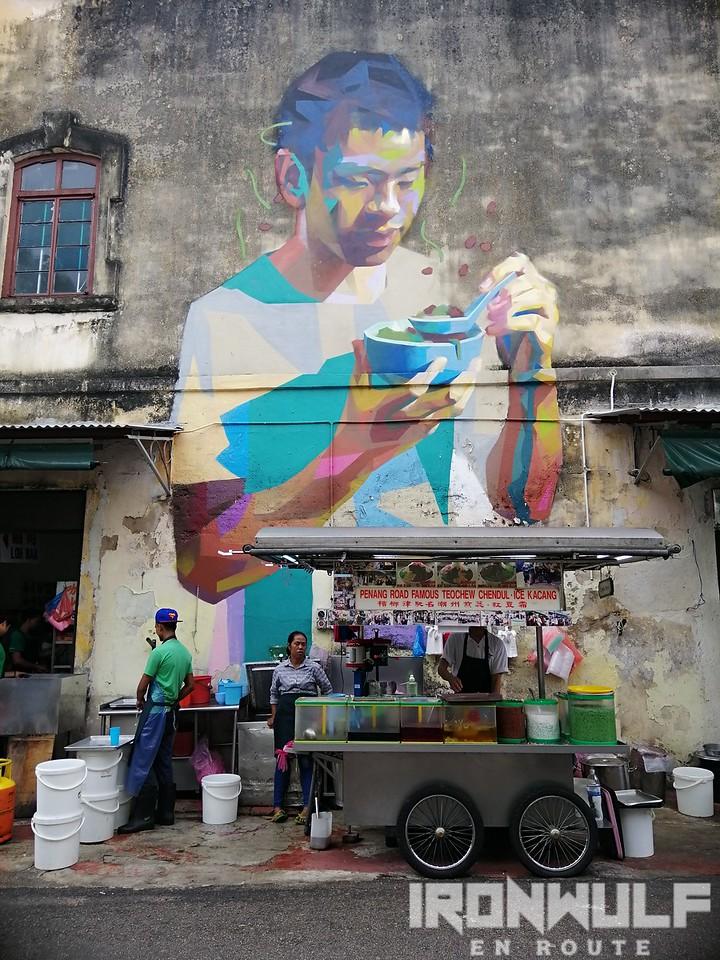 Eating ice kacang mural at Malabar
