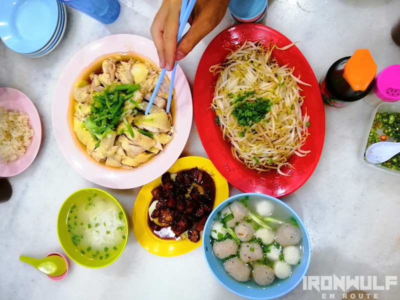 Local favorite hor fun, taugeh, Hainanese chicken, pork bbq and meatballs