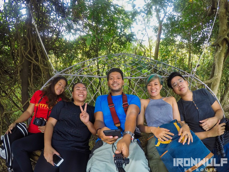 Resting by the hanging bench mid-trail: Kara (TravelUp), Tin (JovialWanderer), Me, Celine (Celinism), Dennis (Mr Celinism)
