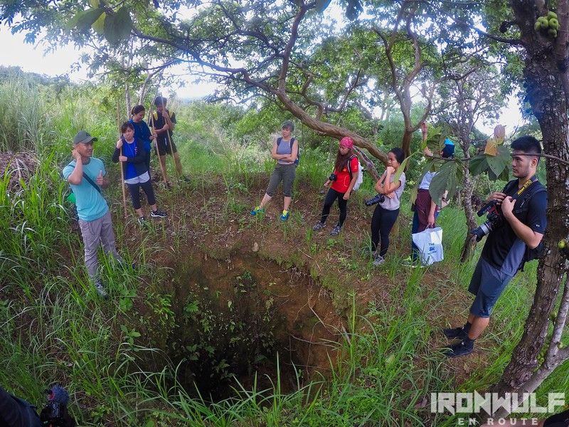 One of the holes dug by treasure hunters