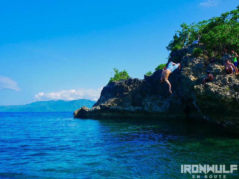 Cliff jumping at one of the rocky islets