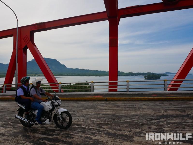 Motorcycle ride at the bridge
