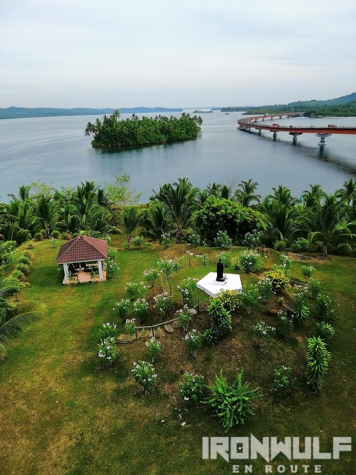 A park on an islet below the bridge