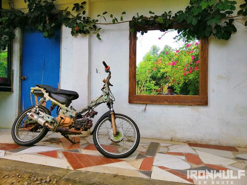 A motorcycle display at Bahay Kubo
