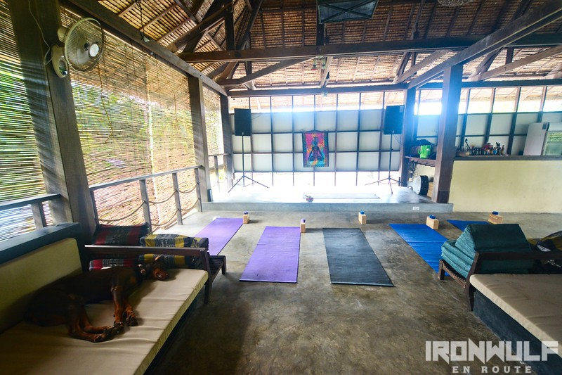 Entertainment space in the evening, yoga space at daylight