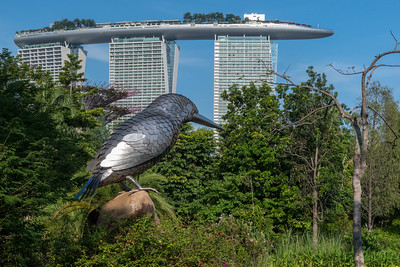 Sculpted bird in Marina Bay Gardens, with Marina Bay Sands hotel in the rear - Singapore