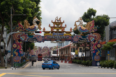 Streets are decorated for Deepavali, Little India, Singapore