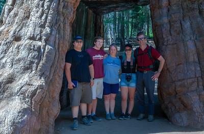 Family photo inside the California Tunnel Tree - Mariposa Grove of Giant Sequoias, Yosemite National Park.