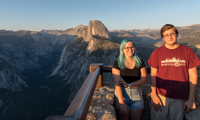 Andy and Mara overlook Halfdome and Yosemite Valley from Glacier Point.