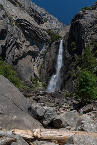 Lower Yosemite Falls; David, Mara, Andy look tiny to the right of the base of the falls.