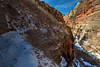 Snow-covered trail from Observation Point in Zion National Park.