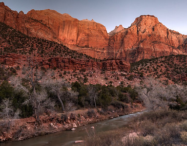 The streaked wall and the Sentinel, before sunrise; Zion National Park.