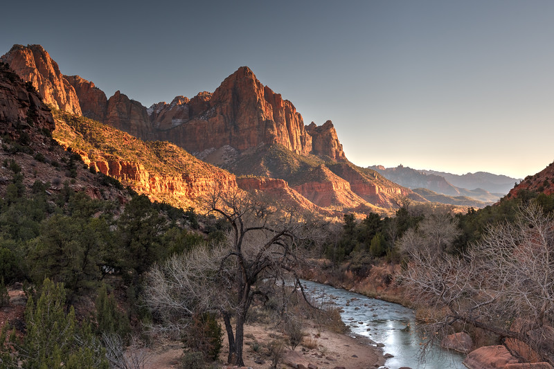 The Watchman at sunset, as viewed from the bridge at Canyon Crossing - Zion National Park.