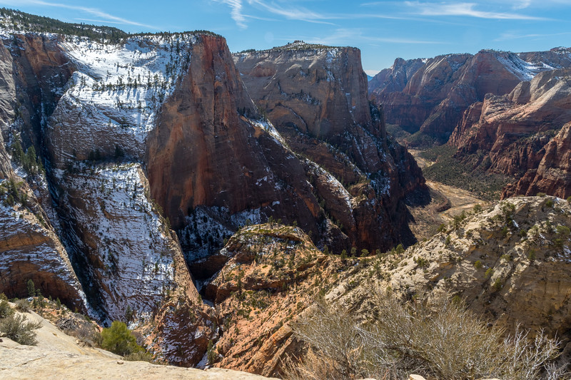 View from the trail to Observation Point, which begins down by the river below. Zion National Park.