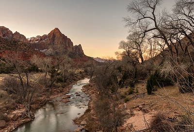 The Watchman and Virgin River from footbridge on Pa'rus trail, at sunrise; Zion National Park.