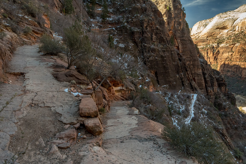 Switchbacks and concrete-paved trail to Observation Point, Zion National Park.