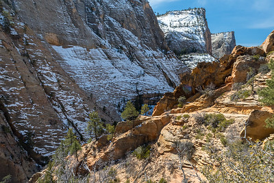 At center, a hiker along the trail to Observation Point, Zion National Park.