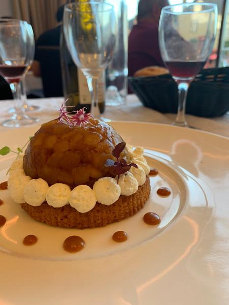 An apple-shaped apple dessert.