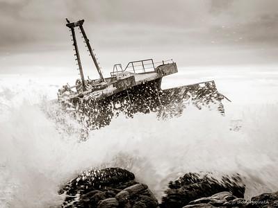 The Meisho Maru No.38 ... still facing bad weather