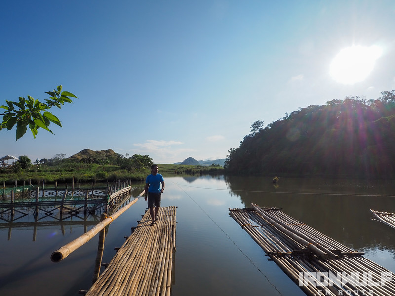 Walking along a bamboo pier