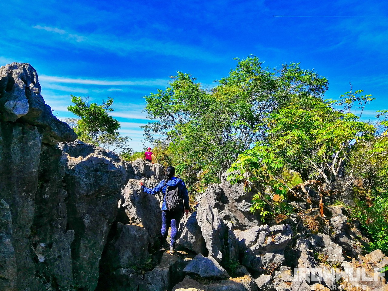 Scrambling over the limestone rocks