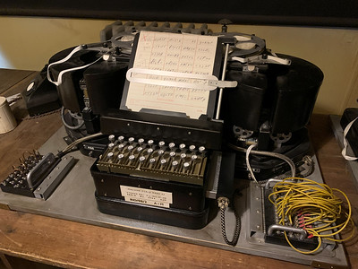 """TypeX"" machine, modified to translate an enciphered message after entering the codes resulting from decryption."
