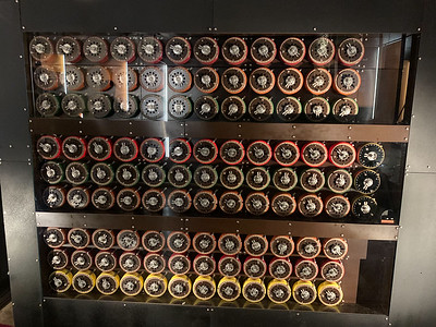 Bombe machine that helped to crack the day's Enigma code, Bletchley Park