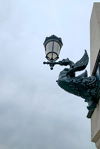 Dragon-shaped lanterns on Margaret Bridge, Budapest.