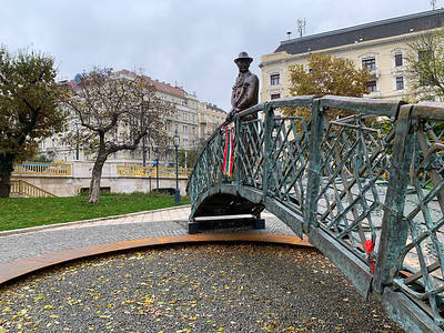 An interesting statue - including the bridge itself - in Budapest.